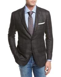 Kiton Windowpane Cashmere Silk Linen Sport Coat Graycamel