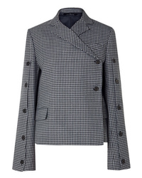 Rokh Button Embellished Houndstooth Tweed Blazer