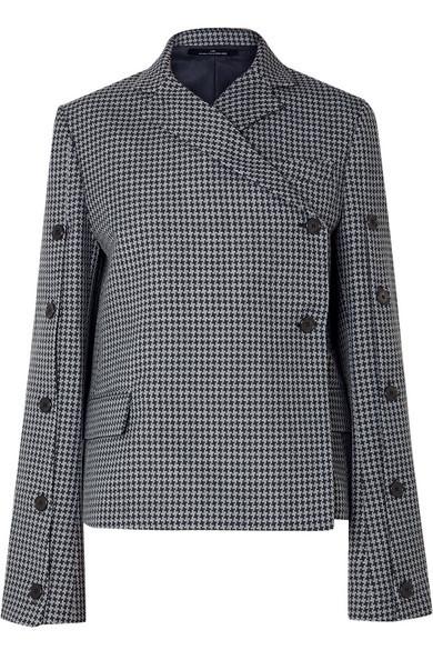Rokh Button Embellished Houndstooth Tweed Blazer