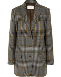 Gucci Cape Effect Prince Of Wales Checked Wool Blend Blazer