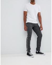 Jack & Jones Trouser In Slim Tapered Check With Leg Stripe Melange