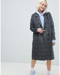 Monki Check Tailored Coat In Grey