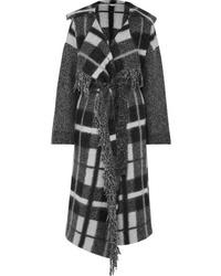 Stella McCartney Hooded Checked Wool Blend Coat