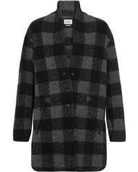 Isabel marant toile gino oversized checked wool blend coat gray medium 3947293