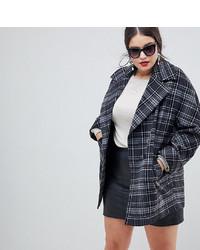 Helene Berman Plus Yummy Mummy Wool Blend Check Coat Pink Check