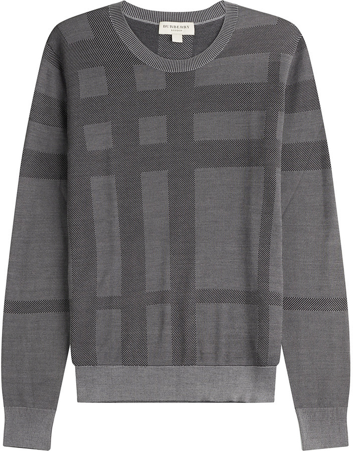 ... Crew-neck Sweaters Burberry London Checked Silk Pullover ...