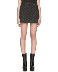 Grey denim checker miniskirt medium 1188032