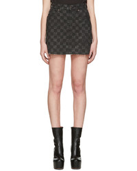 Marc Jacobs Grey Denim Checker Miniskirt