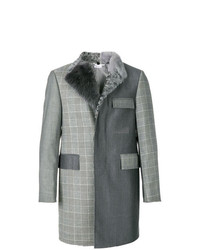 Thom Browne Fun Mixed Fur Collar And Lapel Classic Chesterfield Overcoat