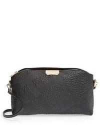 Burberry Small Chichester Check Embossed Leather Crossbody Bag Black