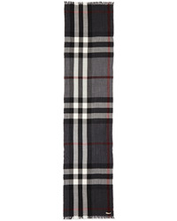 Burberry Woolcashmere Tricolor Check Lightweight Scarf Charcoal