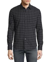 rag & bone Check Long Sleeve Sport Shirt Dark Gray