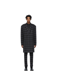 Balenciaga Black And Grey Checked Double Breasted Jacket