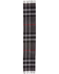 Burberry Half Mega Check Cashmere Scarf Charcoal