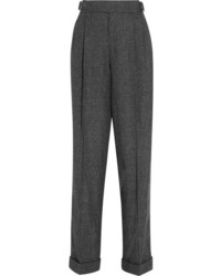 Tom Ford Prince Of Wales Checked Wool Silk And Cashmere Blend Tapered Pants Gray