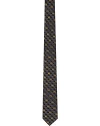 Fendi Black Yellow Silk Forever Tie