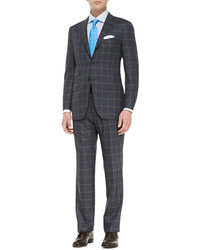 Kiton Birdseye Windowpane Two Piece Suit Gray