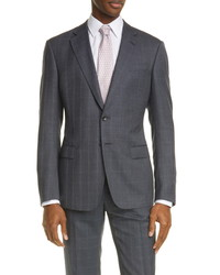 Giorgio Armani Trim Fit Grey Windowpane Suit