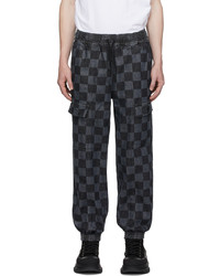 Marcelo Burlon County of Milan Black Grey Checkerboard Jogger Lounge Pants