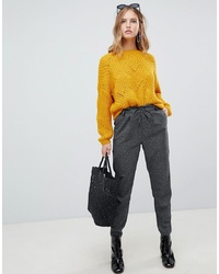 Only Grey Check Trouser With Drawstring Waist