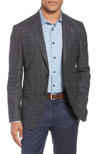 97674918d1f122 Konan Trim Fit Windowpane Wool Sport Coat. Charcoal Check Wool Blazer by Ted  Baker London