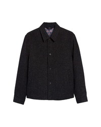 Ted Baker London Carabin Check Wool Cotton Blend Jacket