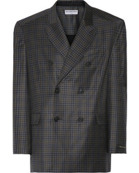 Balenciaga Checked Wool Blazer Gray