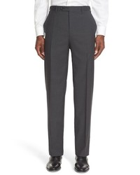 Canali 13000 Regular Fit Flat Front Check Wool Trousers