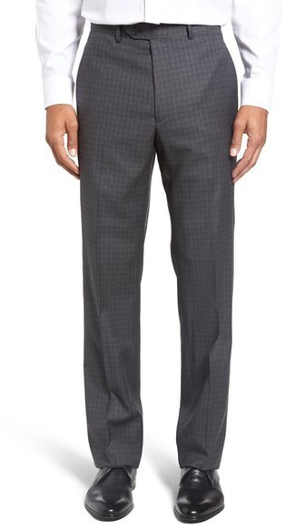 Santorelli Flat Front Check Wool Trousers