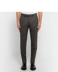 Ermenegildo Zegna Grey Slim Fit Checked Stretch Wool Trousers