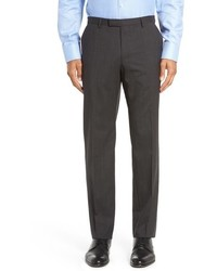 BOSS Leenon Flat Front Check Stretch Wool Trousers