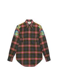 Charcoal Check Wool Long Sleeve Shirt