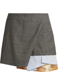 Toga Layered Checked Wool Mini Skirt