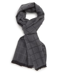 Canali Windowpane Wool Scarf