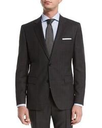 Hugo Boss Boss Birdseye Windowpane Two Piece Wool Travel Suit Charcoal