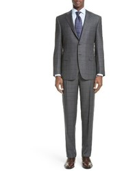 Canali Classic Fit Windowpane Wool Suit