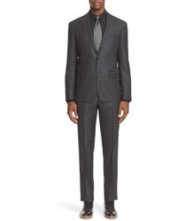 John Varvatos Star Usa Trim Fit Check Wool Silk Suit