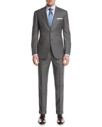 Brioni Super 160s Wool Box Check Two Piece Suit Light Gray