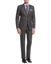 Kiton Windowpane Tic Wool Two Piece Suit Gray