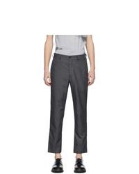 Comme des Garcons Homme Deux Grey Textured Sharkskin Trousers