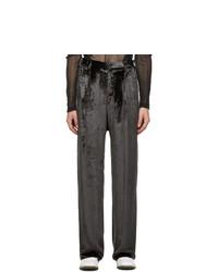 Sulvam Grey Velour Wide Leg Trousers