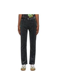 Dries Van Noten Grey Velvet Patterned Trousers
