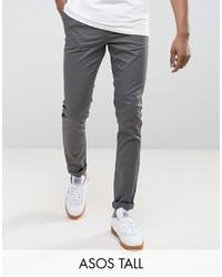 Asos Tall Skinny Chinos In Gray