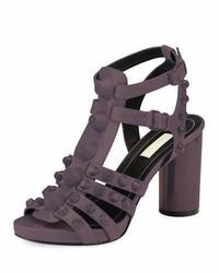 Balenciaga Studded Chunky Heel Cage Sandal Gris Asphalte