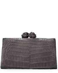 Crocodile knot top clutch bag medium 650167