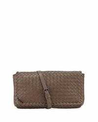 Medium intrecciato flap clutch bag wstrap steel medium 3679479