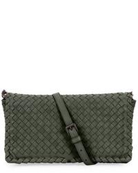 Small intrecciato flap clutch bag wstrap gray medium 649565