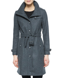 Burberry Brit Single Breasted Wool Blend Trenchcoat