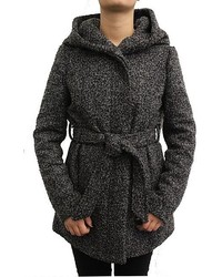 Coffeeshop Short Charcoal Boucle Wool Wrap Coat With Belt