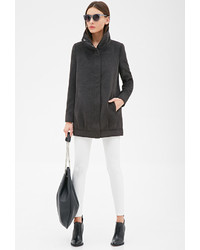 Forever 21 Pleated Funnel Neck Cocoon Coat